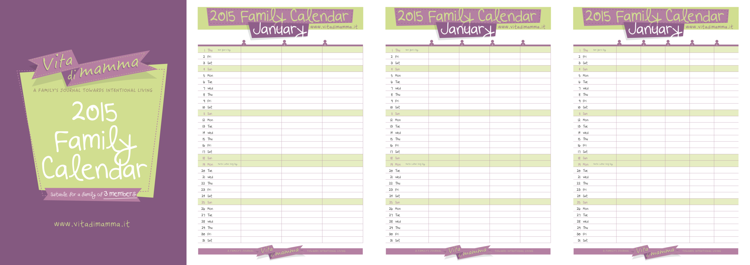 Family Calendars : Free printable family calendar by vita di mamma is