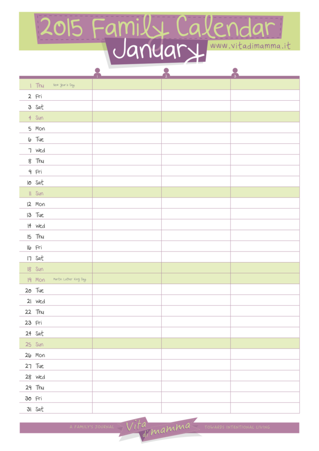 2015 Free Printable Family Calendar by Vita Di Mamma is here! – Vita