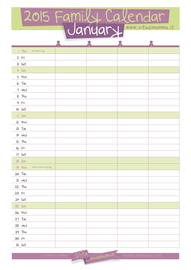 Kids Calendar Template : Free printable family calendar by vita di mamma is